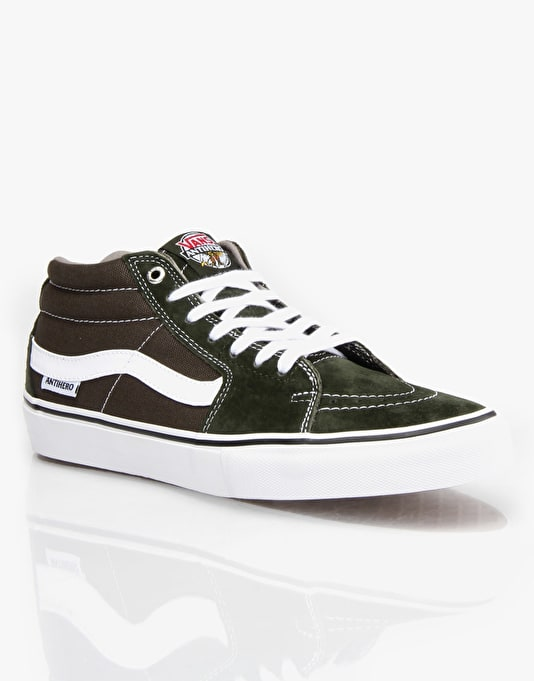 Vans Sk8 Mid Pro Skate Shoes - (Anti Hero) Green/Grosso