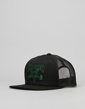 Thrasher SK8 Goat Embroidered Mesh Snapback Cap - Black/Green