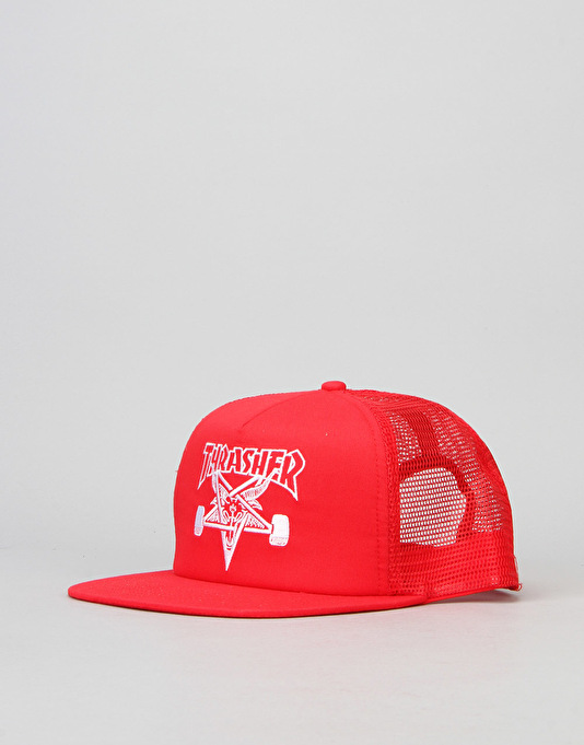 Thrasher SK8 Goat Embroidered Mesh Snapback Cap - Red/White
