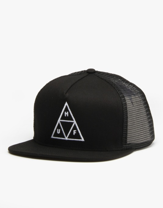 HUF Triple Triangle Trucker Snapback Cap - Black