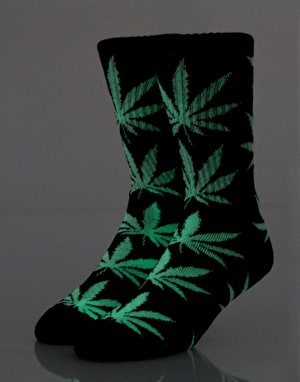 HUF Plantlife Crew Socks - Glow In The Dark