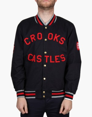 Crooks & Castles Sportsman Stadium Jacket - True Navy