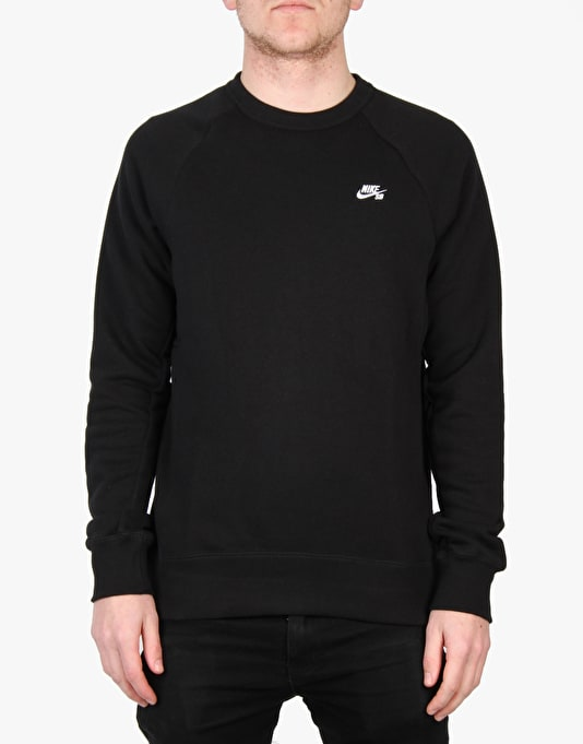 Nike SB Icon Crew Fleece Sweatshirt - Black/White