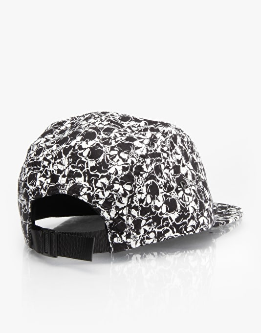 HUF Skulls Box Logo Volley 5 Panel Cap - Black/White