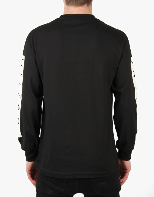 Welcome Scrawl Bar Longsleeve T-Shirt - Black/White