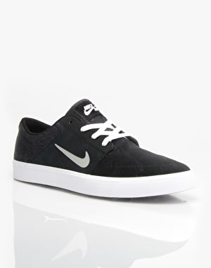 Nike SB Portmore Skate Shoes - Black/Medium Grey/White