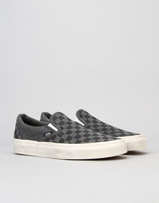 Vans Classic Slip-On Skate Shoes - (Overwashed) Black/Checker