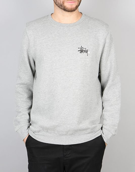 Stüssy Basic Logo Crew - Grey Heather
