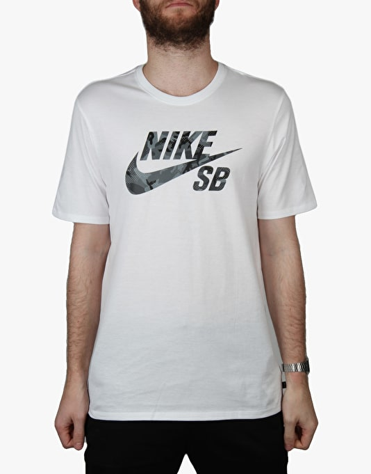 Nike SB Icon Camo Fill T-Shirt - White/Anthracite/Reflective Silver