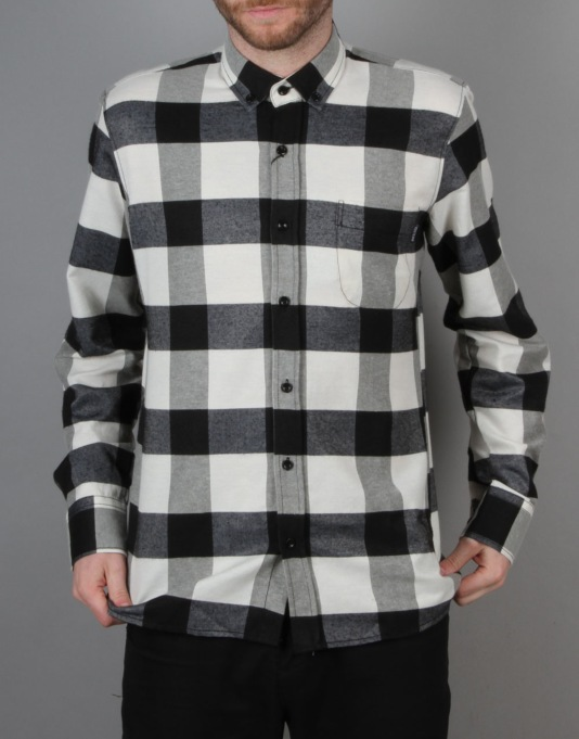 Route One Large Check Flannel Shirt - Black | Sale Shirts | Clearance  Clothing | Route One