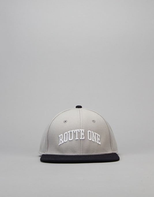 Route One College Snapback Cap - Steel/Navy