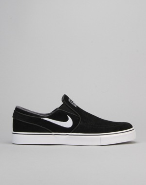 Nike SB Air Zoom Stefan Janoski Slip Skate Shoes - Black/White-Grey