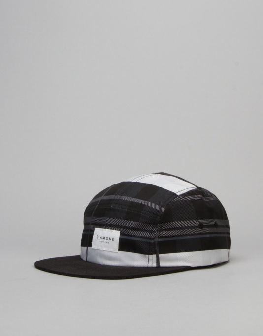 Diamond Supply Co. Stone Cut Plaid 5 Panel Cap - Black