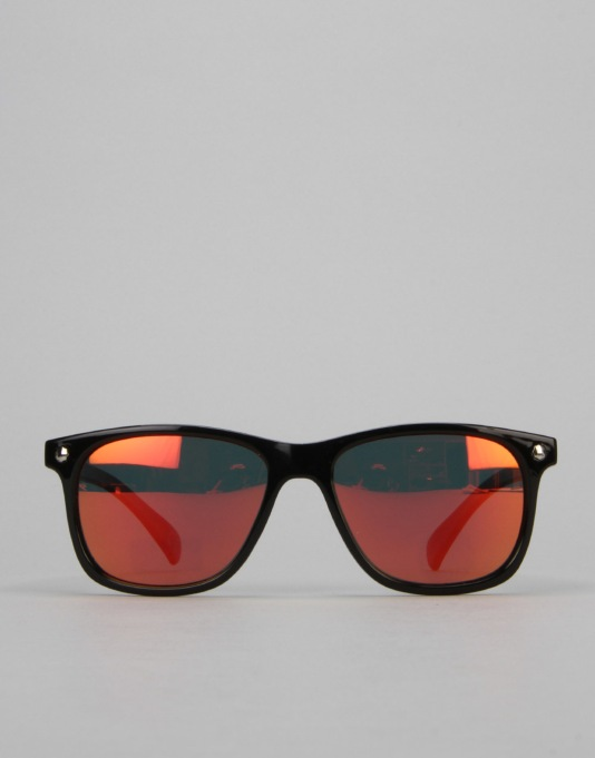 Glassy Sunhater Biebel Sunglasses - Black/Red Mirror