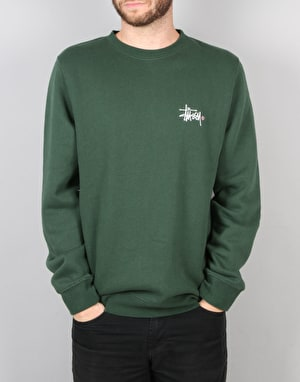 Stüssy Basic Logo Applique Crew Sweatshirt - Pine