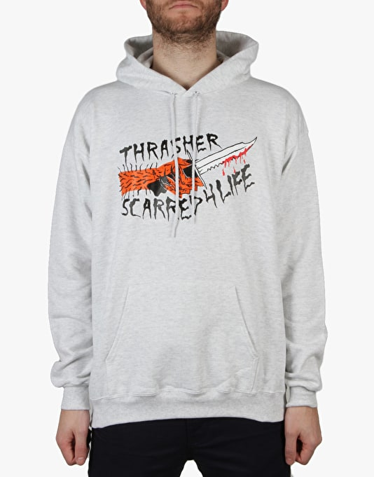 Thrasher x Neck Face Scarred Pullover Hoodie - Ash Grey