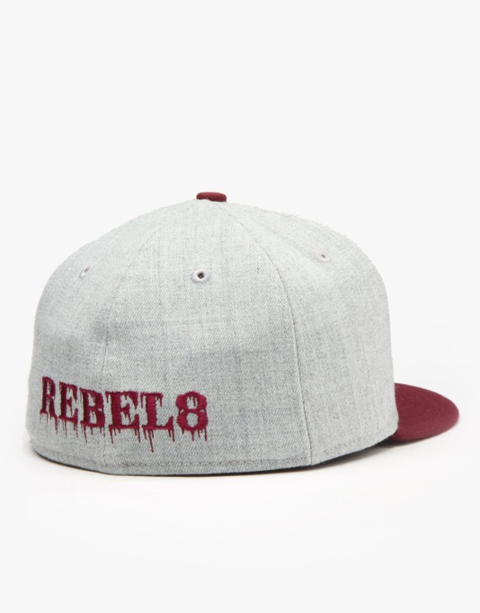 Rebel8 Two-Tone Logo Fitted Cap - Heather Grey/Burgundy