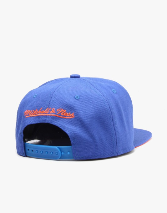 Mitchell & Ness NBA New York Knicks Title Snapback Cap - Royal/Orange