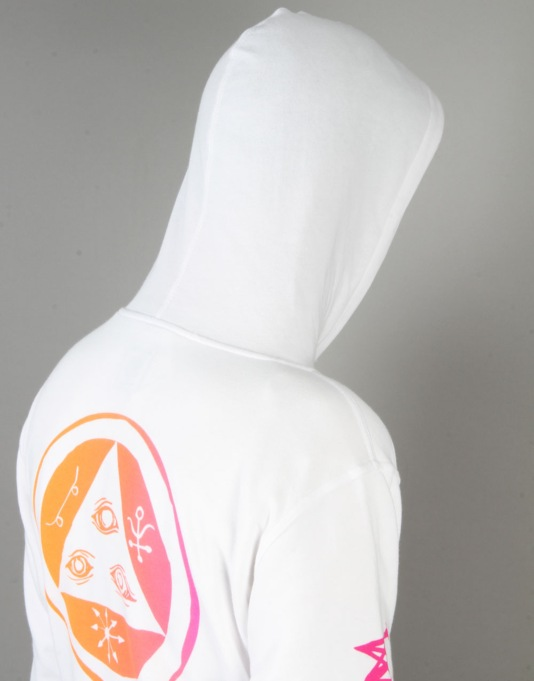 Welcome Tali-Scrawl Lightweight Pullover Hoodie - White/Orange/Pink