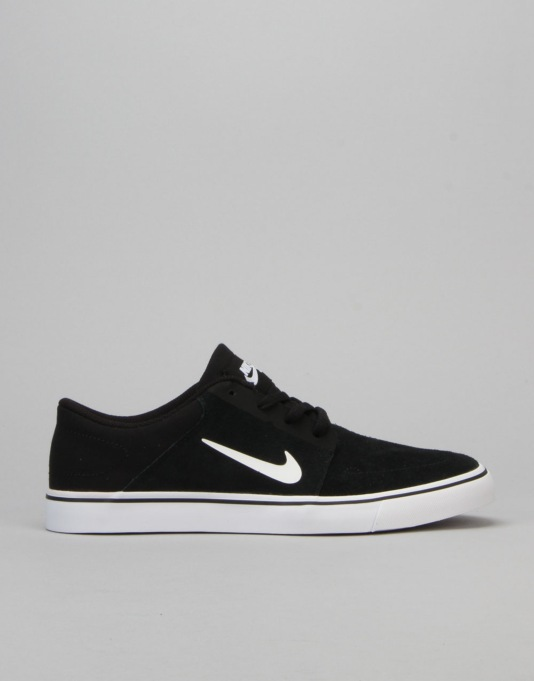 Nike SB Portmore Boys Skate Shoes - Black/White/White