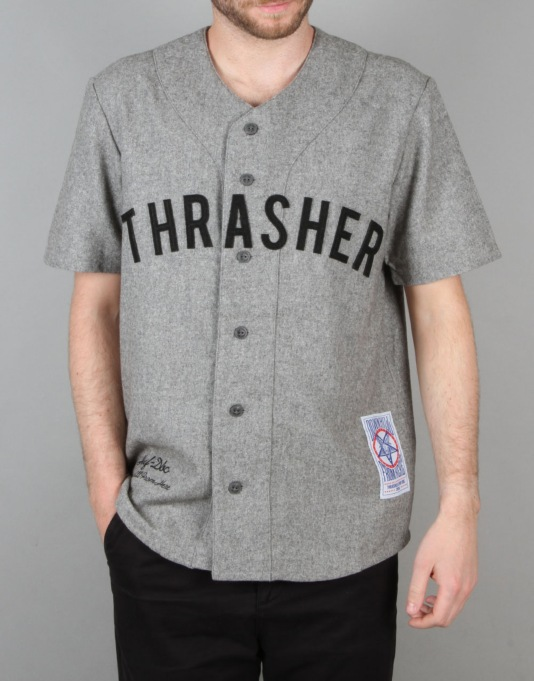 HUF x Thrasher Vintage Baseball Jersey - Grey Heather