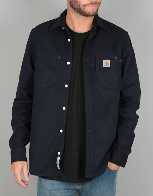 Carhartt L/S Tony Shirt - Navy Ridged
