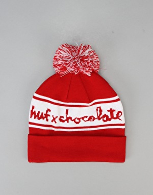 HUF x Chocolate Chunk Pom Bobble Beanie - Red