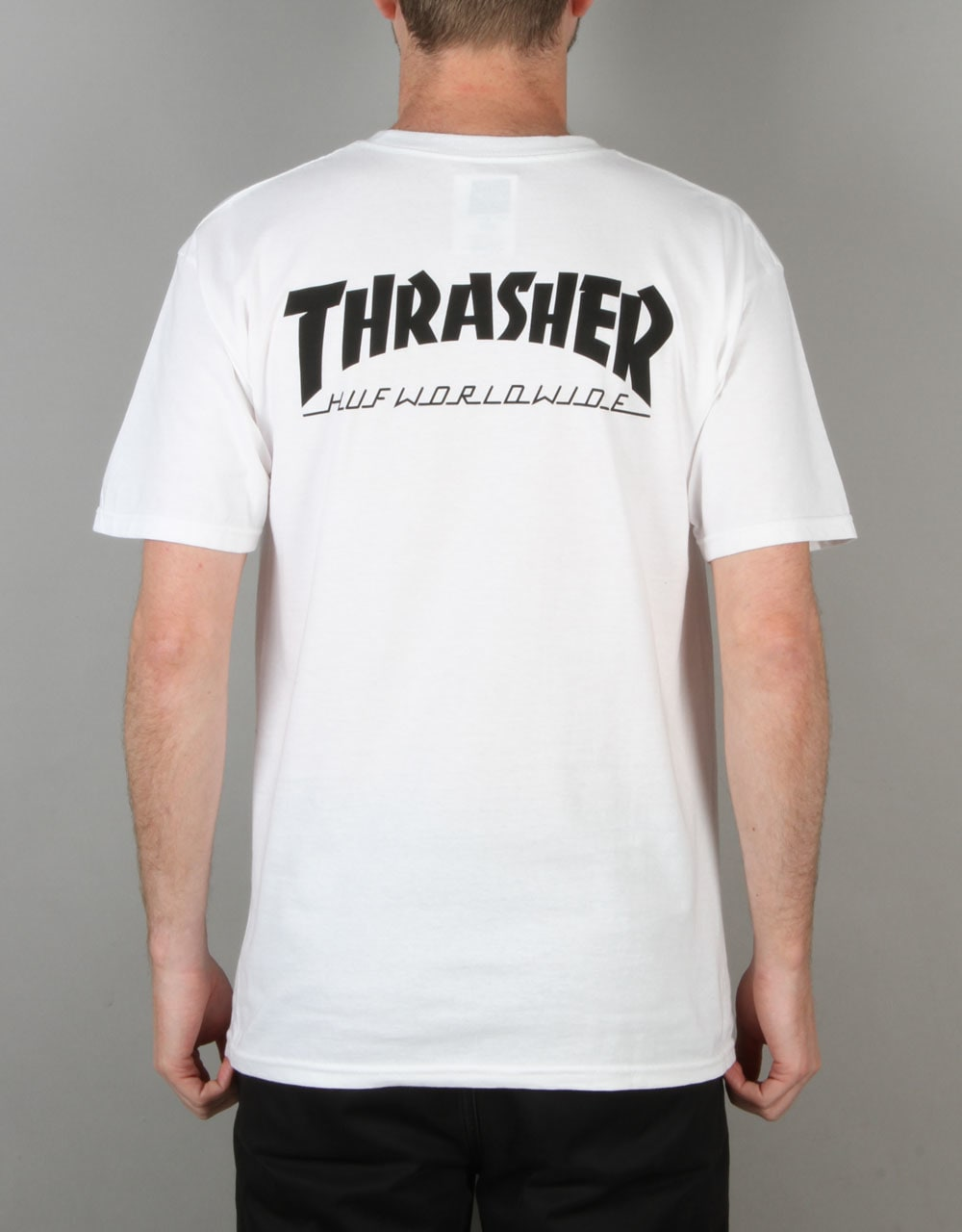 Huf x thrasher classic h t shirt white backprint t for The red t shirt company