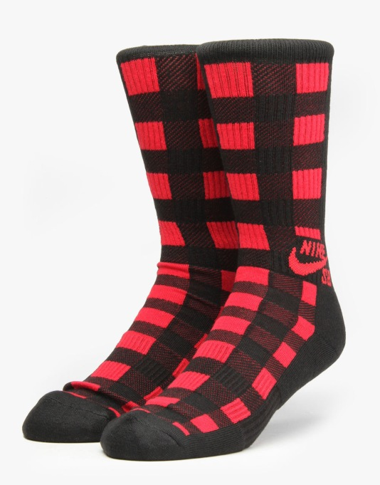Nike SB Buffalo Plaid Crew Socks - Black/Gym Red