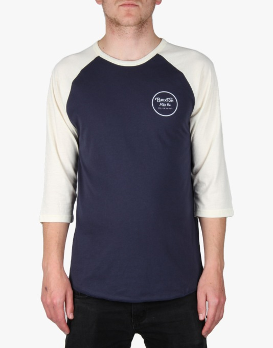Brixton Wheeler 3/4 Raglan T-Shirt - Navy/Cream