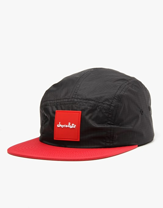 Chocolate Red Square 5 Panel Cap - Black