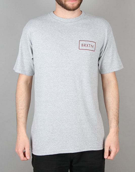 Brixton Rift T-Shirt - Heather Grey/Burgundy