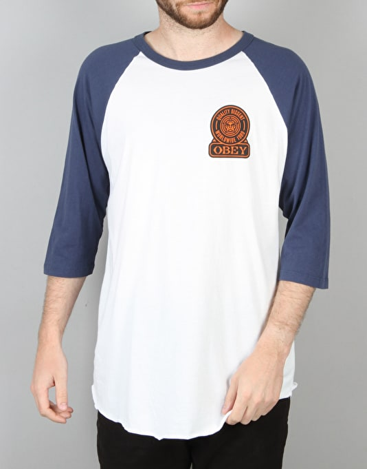 Obey Quality Dissent Raglan T-Shirt - White/Navy