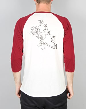 Brixton Rosa 3/4 Sleeve T-Shirt - White Burgundy