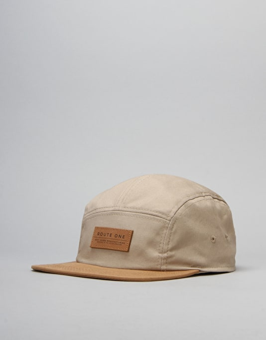 Route One Soft Goods 5 Panel Cap - Khaki/Latte