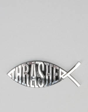 Thrasher Fish Car Emblem - Chrome