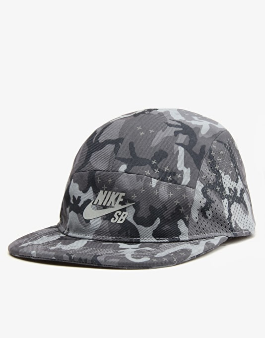 Nike SB Performance 5 Panel Cap - Black/Black/Reflective Silver