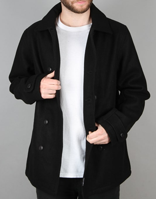 The Hundreds Wul Peacoat Jacket - Black
