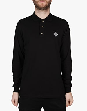 The National Skateboard Co. Logo L/S Polo Shirt - Black