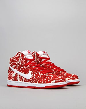 Nike SB Dunk High Premium SB Skate Shoes - Red/White-Chilling Red