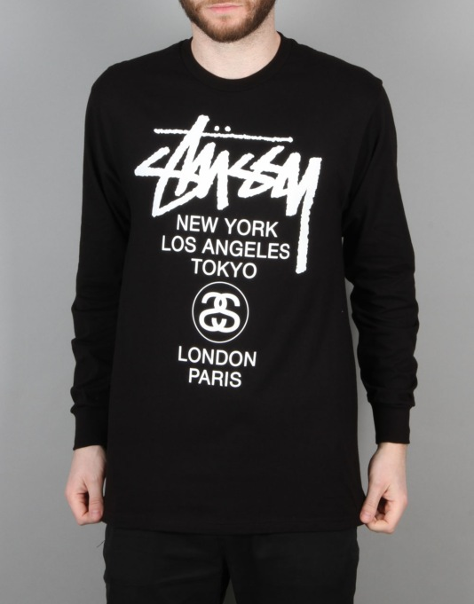 Stüssy S World Tour L/S T-Shirt - Black/White