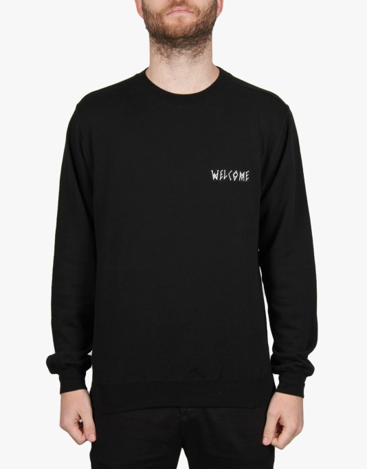 Welcome Scrawl Embroidered Lightweight Crew - Black/White