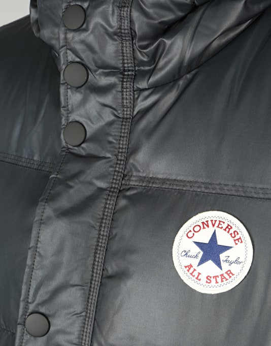 Converse Core Short Hooded Puffer Jacket - Black