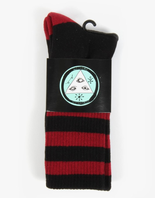 Welcome Triangle Socks - Black/Maroon