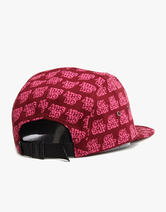 HUF Oh Shit Volley 5 Panel Cap - Wine/Fushia