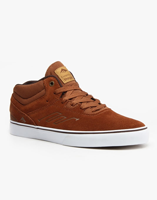 Emerica Westgate Mid Vulc Skate Shoes - Brown/White