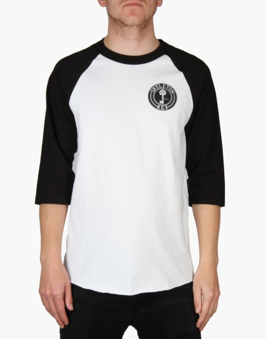 Skeleton Key Black Dot 3/4 Raglan T-Shirt - White/Black