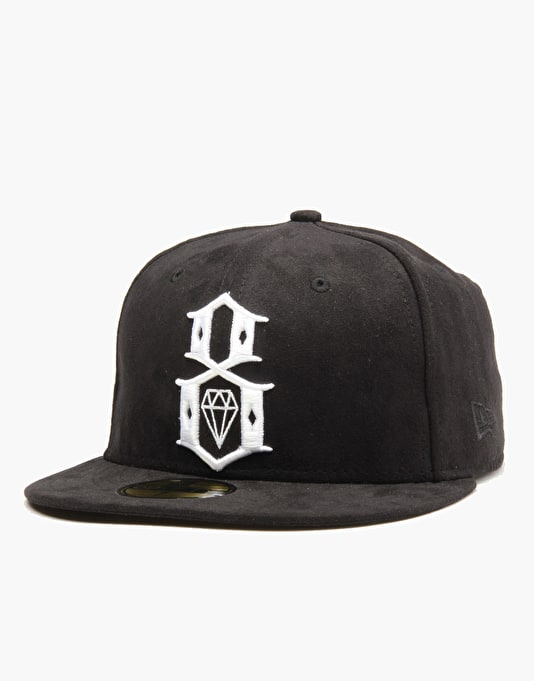 Rebel8 Suede Logo Fitted Cap - Black