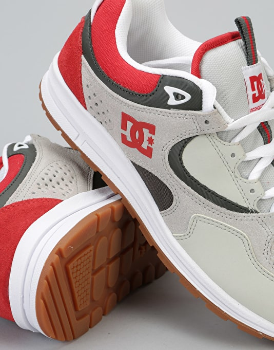DC Kalis Lite Skate Shoes - Grey/Red/White