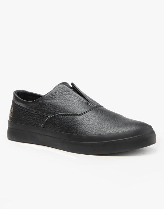 HUF Dylan Slip On Skate Shoes - Black Leather